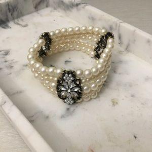 Stretchy Pearl & Rhinestone Multilayer Bracelet